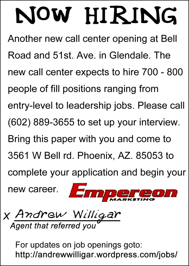 Now hiring Flyer for Emperion Marketing LLC jobs in Phoenix Arizona by Andrew Willigar